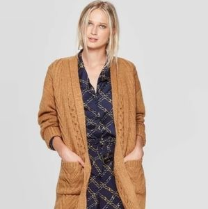 Brown Thick woven cardigan